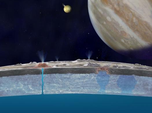 Słona woda na Europie wydostaje się na powierzchnię planet