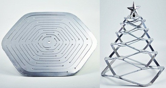 Minimalistyczna metalowa choinka dla fanów industrialnych wnętrz