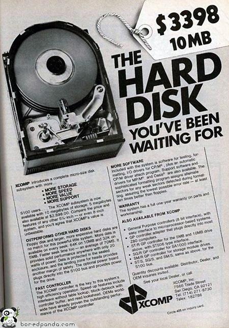 GALERIA – Dysk twardy o pojemności 10 megabajtów za jedyne 3999 dolarów czyli reklamy komputerów z poprzedniej epoki
