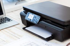 Printer and computer. Office table