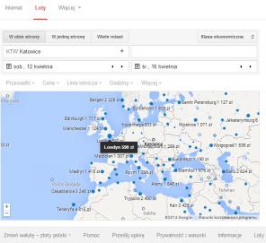 wyszukiwarka lotów Google