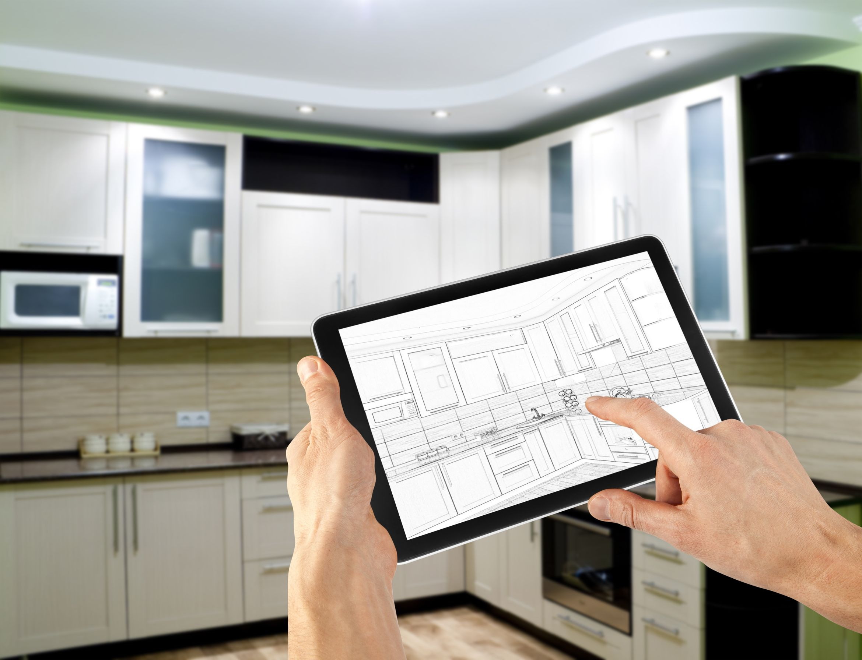 16568112 - interior layout plan on tablet computer. business. kitchen